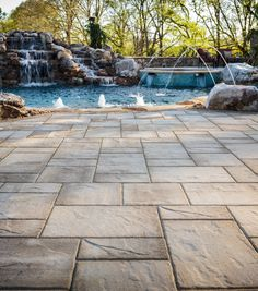 Although that's quite often not true at all, in the contemporary world of outdoor living design, large scale pavers certainly are one of the hottest trends. Concrete Patios, Outdoor Patio Pavers, Patio Slabs, Patio Privacy, Deck Patio, Patio Table, Belgard Pavers, Cement Patio, Concrete Garden