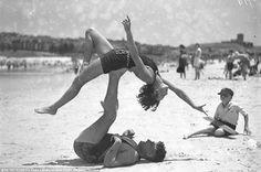 Beach gymnastics in 1950s Australia