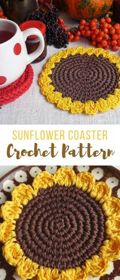 I am SO making these, omg too cute little sunflower coasters crochet pattern. How easy and quick, just my style and will look great on the table anytime. #crochetcoasters #crochetcoasterpattern #coasterscrochetpattern #affiliate #sunflowercrochetpattern