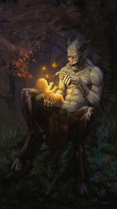 ArtStation - My little lost fairy, Hernán Carracedo Dark Fantasy Art, Fantasy Artwork, Dark Art, Final Fantasy, Elves Fantasy, Arte Horror, Horror Art, Art Goth, Arte Obscura