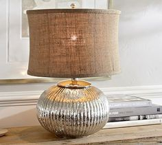 """Celia Mercury Glass Table Lamp Base: $79.00 Master Bedroom: 11.5"""" diameter, 21"""" high Crafted of handblown mercury glass. On/off switch at socket. Antique mercury glass finish. Pair with one of our Medium Mix & Match Shades (sold separately). UL-listed."""