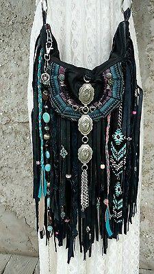 Handmade Black Leather Fringe Bag Hippie Boho Hobo Purse Pewter Brooch tmyers
