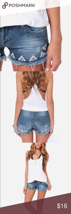 Others Follow Denim Cut Off Shorts Others Follow Denim Cut Off Shorts + triangle detail; size 28; in GREAT condition! Others Follow Shorts Jean Shorts