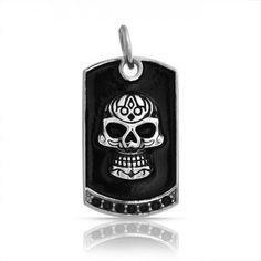 Bling Jewelry Black Onyx Color CZ Stainless Steel Tribal Skull Dog Tag Pendant