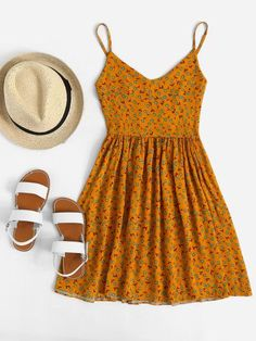 Shop V Neckline Ditsy Print Cami Dress online. ROMWE offers V Neckline Ditsy Print Cami Dress & more to fit your fashionable needs. Cute Dresses, Casual Dresses, Casual Outfits, Cute Outfits, Summer Dresses, Maxi Dresses, Casual Clothes, Elegant Dresses, Formal Dresses