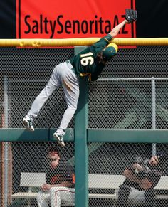 An amazing catch by Josh Reddick (our Golden Glove-winning right fielder).  He robbed the San Francisco Giants of a home run by scaling a 10-foot wall during their first spring training game of the 2014 baseball season.