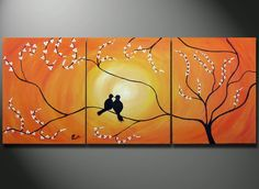 Birds in Tree Branch Painting, 48 x 20 Large Art canvas ORIGINAL Romantic Lovers wedding gift wall decor, birds sitting on a tree. $199.00, via Etsy. @ Pin For Your Home