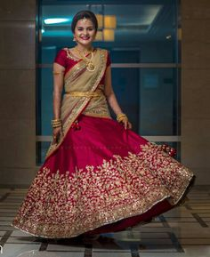 Let's discuss traditional dress which has been in highlight for quite a sometime, which is Half Saree and see some of the trending designs in half sarees. Lehenga Choli Wedding, Lehenga Saree Design, Half Saree Lehenga, Lehnga Dress, Indian Bridal Lehenga, Lehenga Designs, Pakistani Wedding Dresses, Saree Blouse Designs, Indian Dresses