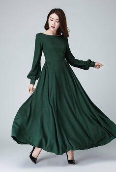 linen dress handmade, bishop sleeve dress, long sleeve dress, boat neck dress, dark green dress, maxi long dress, women dresses, custom 1454