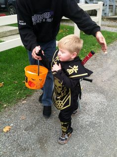 Zach and his dad trick or treating