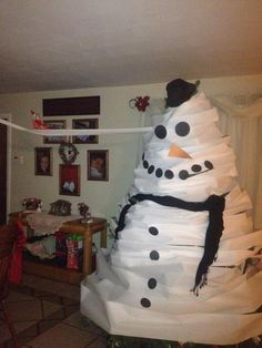 Elf on the Shelf...Freddy TP'd our tree and made it into a snowman!