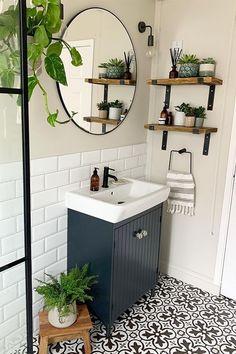 Bathroom Design Small, Bathroom Interior Design, Decorating Small Bathrooms, Very Small Bathroom, Interior Ideas, Diy Small Bathrooms, Bathrooms With Plants, Simple Bathroom Designs, Small Space Bathroom