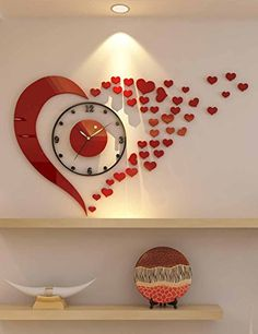 DecorSmart Plastic Large Wall Clock, Watches Hours DIY Room Home Decorations 4004 House Ceiling Design, Ceiling Design Living Room, Bedroom False Ceiling Design, Bedroom Wall Designs, Wall Clock Design, Room Design Bedroom, Bedroom Furniture Design, Home Room Design, Wall Clock Sticker