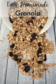 Easy Homemade Granola -- Love this in my yogurt for a healthy breakfast or as a snack. LuvaBargain.com