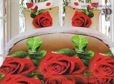 Czerwone róże satynowa pościel kremowa