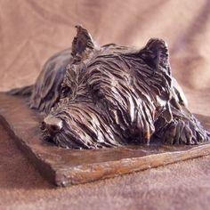 Bronze Resin #sculpture by #sculptor Peter Szilagyi titled: 'Westie Resting (West Highland Terriers sculptures)'. #PeterSzilagyi