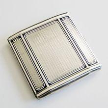 Vintage 1930s WWII Era 935 Silver Guilloche Enamel Art Deco Cigarette Case