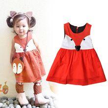 Sommer 2016 Party Kleid Mädchen Fuchs druck Mädchen Kleid Phantasie kleider Für Mädchen Niedliche Falte A-line Halloween-kostüm Für Kinder mädchen(China (Mainland))