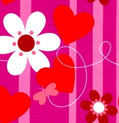 Cotton Quilt Fabric Valentines Day Butterfly Stripe Girls Pink Red  - product image