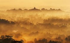Picture of sunrise over a temple