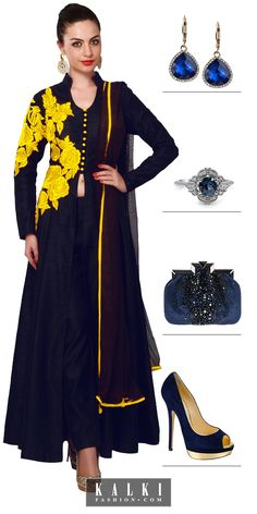 Sway in style at your Bff's baby shower dressed in this royal blue suit with yellow embroidery