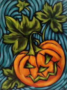 Halloween Orange Pumpkin Colourful acrylic painting