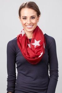 Red Polyester Rising Stars Loop Scarf