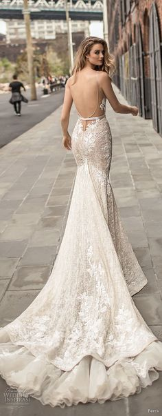 45ac18aa653 berta spring 2018 bridal sleeveless deep plunging v neckline full  embellishment sexy elegant fit and flare