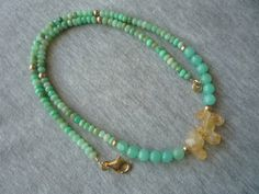 Chrysoprase  faceted rondelles necklace.Gemstone by Iridonousa