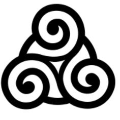 Minimal celtic triskelion symbolizing personal growth, human development, and spiritual expansion.