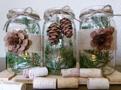 2014 Christmas pinecone mason jar table setting with burlap - Christmas handmade craft #2014 #Christmas