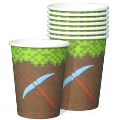 Minecraft Party Supplies, Mining Fun 9oz Party Cups, Mining Tableware