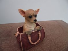 LEONARDO ORNAMENT OFF WE GO GORGEOUS CHIHUAHUA DOG IN BAG New and Boxed