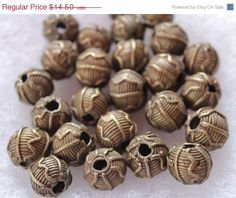 Summer Sale Vintage African Brass Beads Tribal by ColorSquare, $13.05