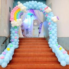 Girly decor for party. Not to mention if you buy the balloons at the dollar store also saving 💰👍 Balloon Decorations Party, Balloon Garland, Birthday Party Decorations, Party Themes, Unicorn Themed Birthday Party, Birthday Balloons, Unicorn Party, Deco Ballon, Balloons Galore