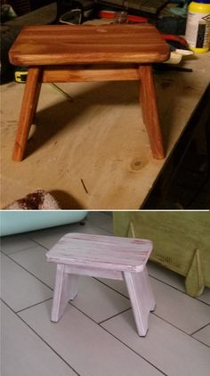 sgabellino in legno massello.