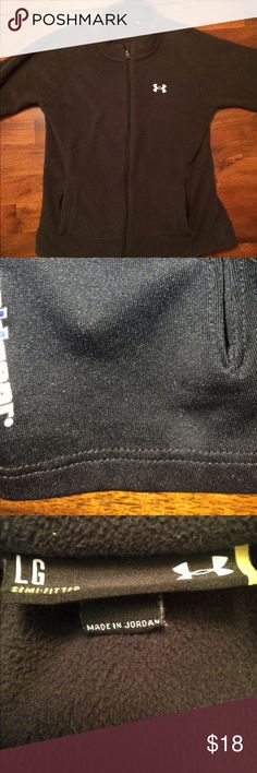Under Armour Fleece Jacket Black Under Armour Fleece Jacket. The sleeves have the dry fit type materials on the ends (featured in the picture). Great for those chillier days in the fall, winter, or spring! Under Armour Jackets & Coats