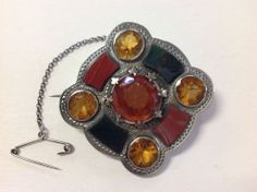 Victorian Scottish Agate and Sterling Brooch