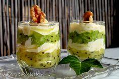 Vasitos de kiwi con queso mascarpone