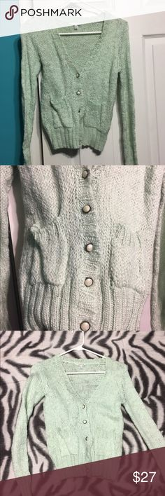 Heritage Mint green knitted sweater Super cute and preppy! Looks great with jeans and riding boots or leggings and over the knee boots. Beautiful mint green color (first picture is true to color) and cute pearl like buttons. Used probably like 3 times Heritage 1981 Sweaters Cardigans