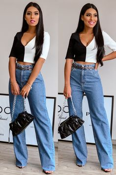 Calça jeans pantalona look. #alljeans #jeans All Jeans, Bell Bottoms, Ideias Fashion, Blazers, Outfits, Clothes, Flowy Pants, New Trends, Trendy Tree
