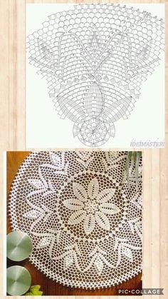 Crochet Placemat Patterns, Crochet Tablecloth Pattern, Modern Crochet Patterns, Crochet Cushions, Crochet Designs, Spiral Crochet, Crochet Doily Diagram, Crochet Motif, Crochet Doilies