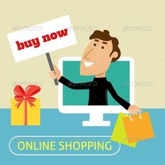 Online Shopping Concept by macrovector Online shopping concept with man with bags and buy now sign in computer monitor vector illustration. Editable EPS and Render in JP