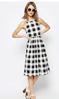 ~~~Adorable black and white checked fit and flare dress. Spring summer 2017 fashion trends. Stitch fix spring. try stitch fix today and get this look delivered right to your door selected by your own personal stylist. #affiliatelink