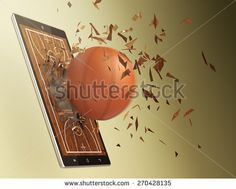 tablet pc with basketball field and a ball coming out by breaking the glass, concept of sport and new communication technology (3d render)