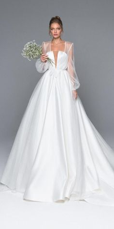 24 Bridal Gowns With Sleeves Never Fails To Impress 24 wedding dresses with sleeves never impress ★ ladies, are you looking for the perfect wedding dress? We bring a bridal gown with sleeves! These dresses will look absolutely adorable! Take a look! Perfect Wedding Dress, Dream Wedding Dresses, Bridal Dresses, Lace Wedding, Gown Wedding, Modest Wedding, Trendy Wedding, Wedding Simple, Summer Wedding