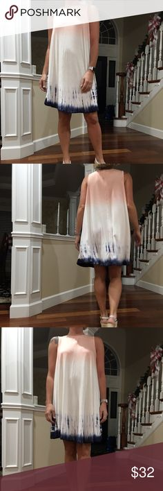 Swing dress Beautiful summer time swing dress, tie dye color of peach and navy bluethe material is soft and the dress flows with every step  Dresses Midi