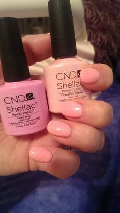 CND shellac cake pop & grapefruit sparkle layering. Perfect for summer