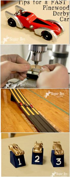 several tips on how to make a FAST Pinewood Derby Car  - - an also a great idea for simple trophies for the cub scouts ~ Sugar Bee Crafts