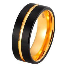 Black Tungsten Ring Yellow Gold Wedding Band Ring Tungsten Carbide 8mm 18K Tungsten Ring Mens Wedding Band Male Women Anniversary Man Engagement Ring Brushed Black Ring